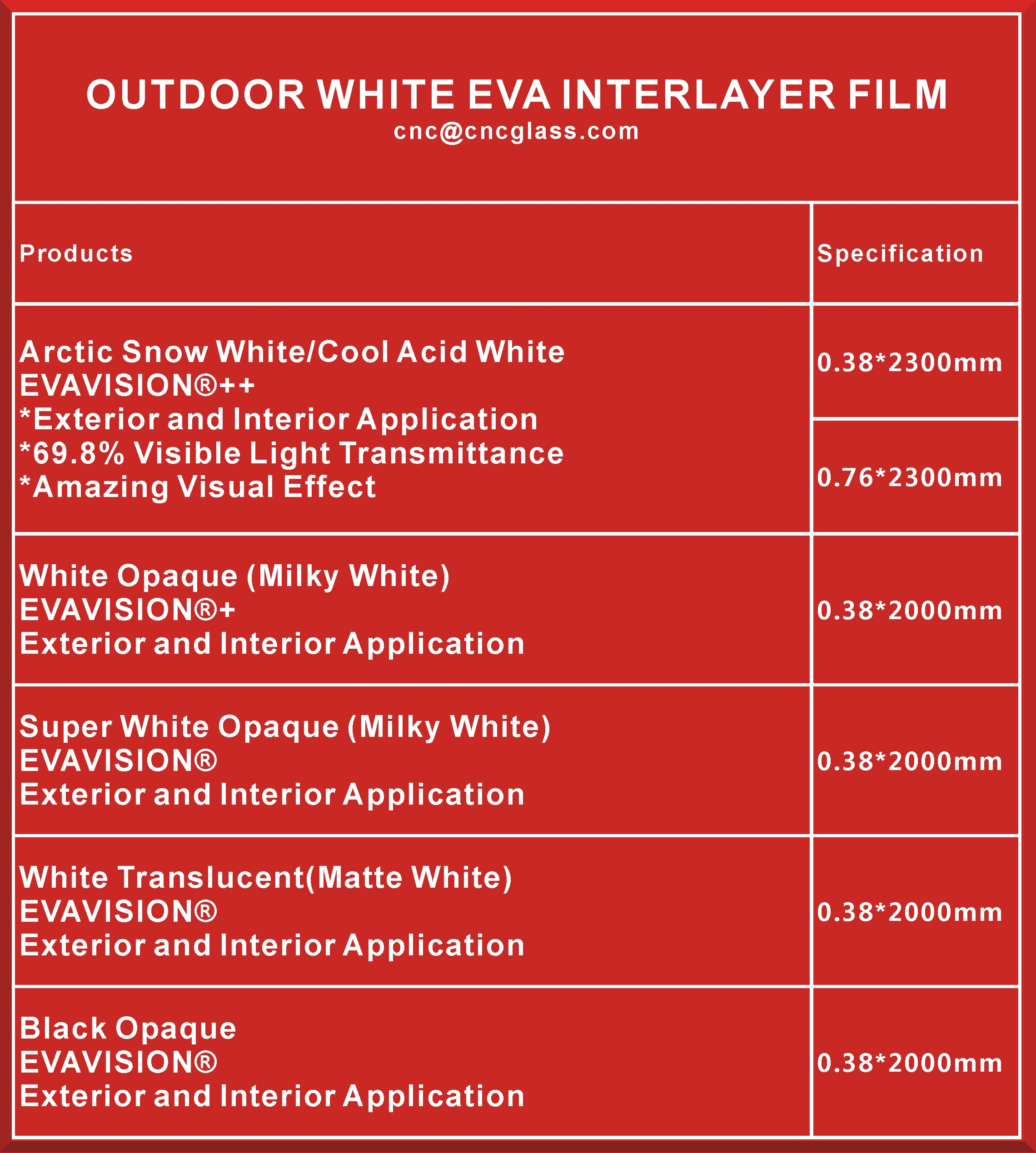 WHITE EVA INTERLAYER FILM