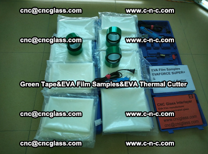 PET GREEN TAPE, EVAFORCE FILM SAMPLES, EVA THERMAL CUTTER (1)
