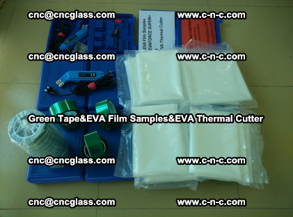 PET GREEN TAPE, EVAFORCE FILM SAMPLES, EVA THERMAL CUTTER (50)