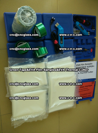 PET GREEN TAPE, EVAFORCE FILM SAMPLES, EVA THERMAL CUTTER (88)