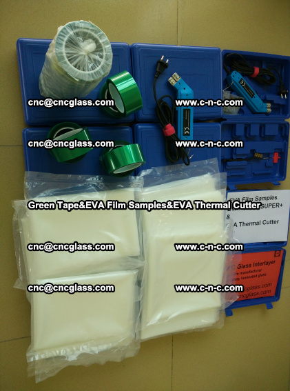 PET GREEN TAPE, EVAFORCE FILM SAMPLES, EVA THERMAL CUTTER (90)